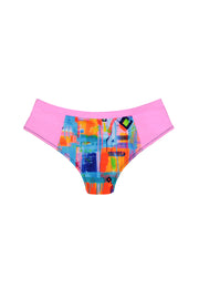 patterned bikini bottoms with pink