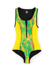 yellow patterned one piece bathing suit