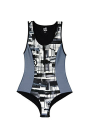 patterned one piece swimsuit