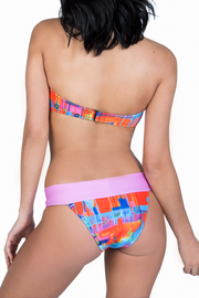 bikini patterned bottom pink strap