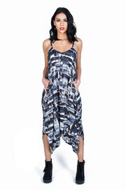 patterned jumpsuit black and white