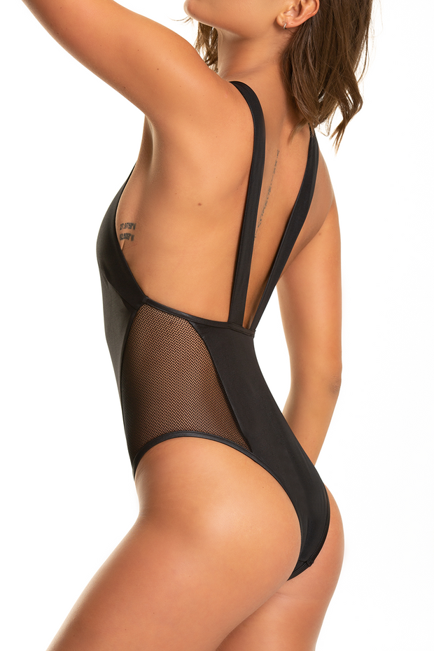 Hot Mesh One Piece — Shiny Black
