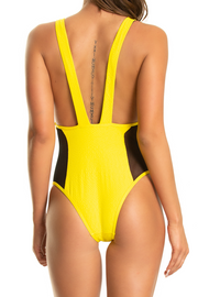 Hot Mesh One Piece — Yellow Snakeskin