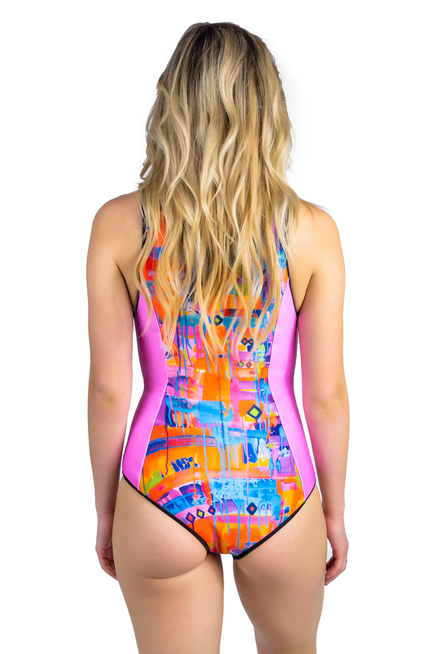 one piece patterned pink swimsuit