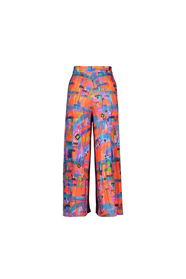 neon patterned wrap pant