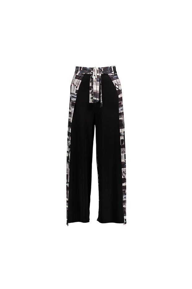 opened black patterned wrap pant