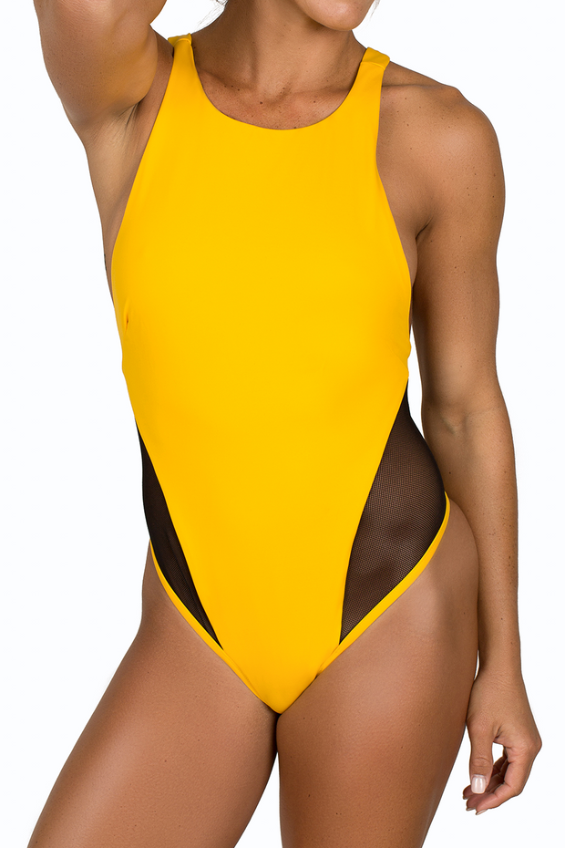 yellow one piece bathing suit black mesh