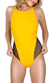 yellow one piece bathing suit