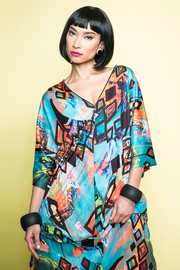 model wearing patterned kaftan