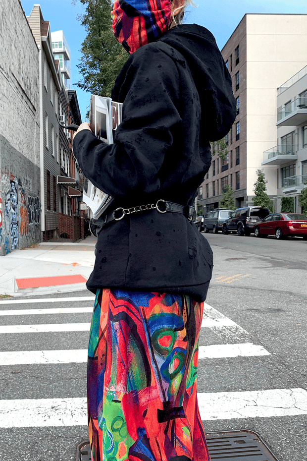 model in nyc wearing colorful mask