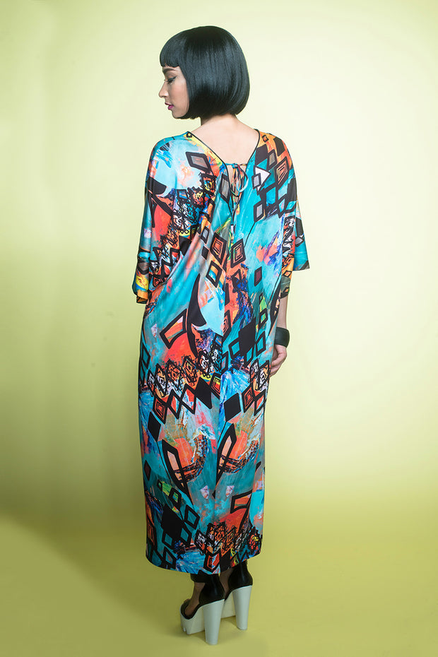 back of patterned kaftan