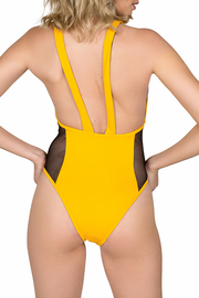 back of yellow one piece bathing suit