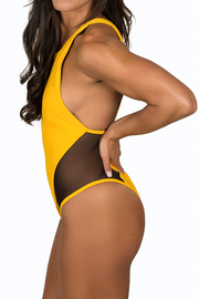 side angle yellow one piece bathing suit black mesh