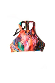 front of patterned colorful halter top
