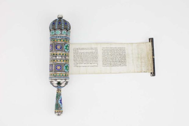 Late 19th Century Georgian Silver and Enamel Megillah Case and Esther Scroll