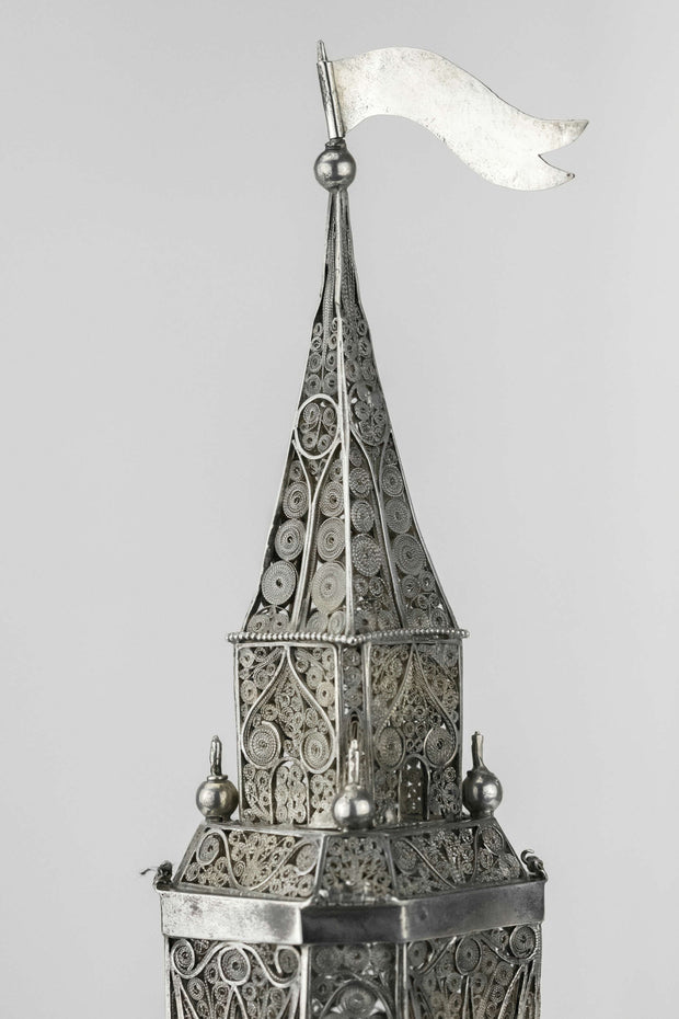 19th Century Austrian Silver Spice Tower - Menorah Galleries