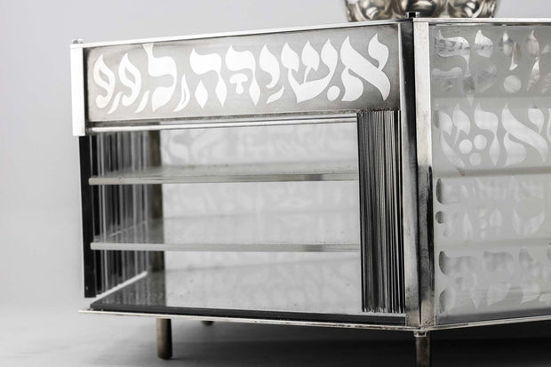 Contemporary Silver and Glass Passover Set by Menachem Berman