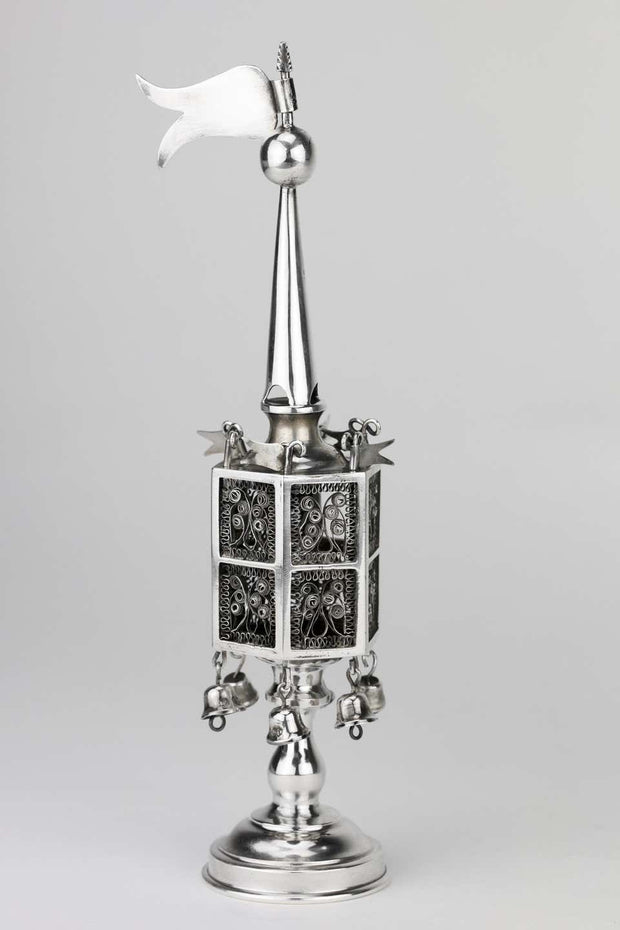 Early 20th Century English Silver Spice Tower by Jacob Fenigstein - Menorah Galleries