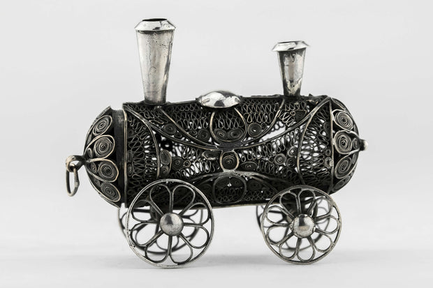 Silver Spice Box Locomotive Form, Ukraine, Circa 1850 - Menorah Galleries