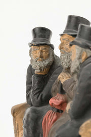 Late 19th Century Bohemian Terracotta Figure Group of Three Jews - Menorah Galleries