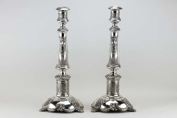 Late 19th Century Pair of Polish Silver Shabbat Candlesticks by Isaac Szekman