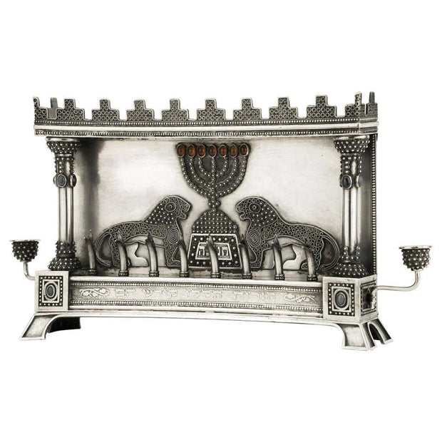 Early 20th Century Silver Hanukkah Lamp Menorah by Bezalel School Jerusalem - Menorah Galleries