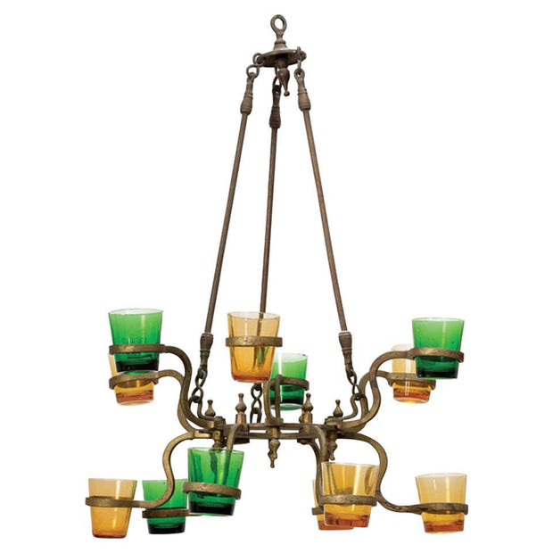 Early 20th Century Indian Brass Synagogue Lamp - Menorah Galleries