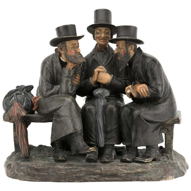 Early 20th Century Bohemian Terracotta Figure Group of Three Jews - Menorah Galleries
