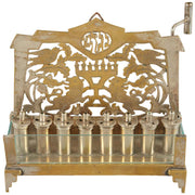 Early 20th Century German Brass and Glass Hanukkah Lamp Menorah - Menorah Galleries
