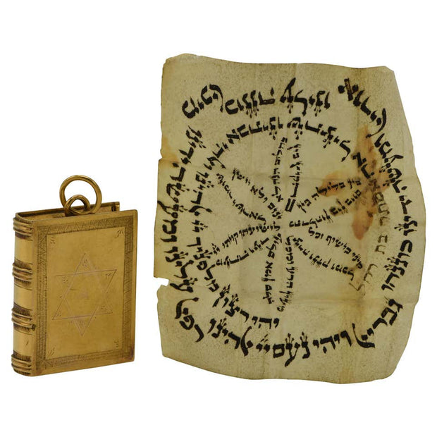 Early 19th Century Dutch Gold Jewish Amulet Case with Hebrew Parchment - Menorah Galleries