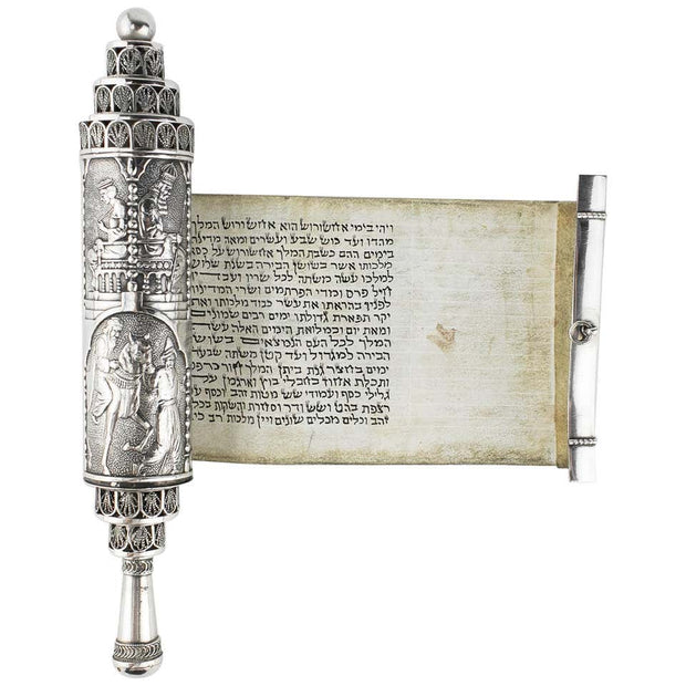 Early 20th Century Silver Megillah Case and Scroll by Bezalel School, Jerusalem