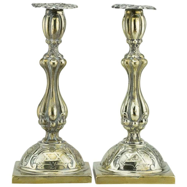 Early 20th Century Polish Brass Shabbat Candelsticks