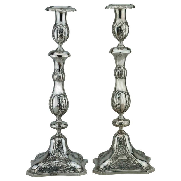 Early 19th Century Polish Silver Shabbat Candlesticks