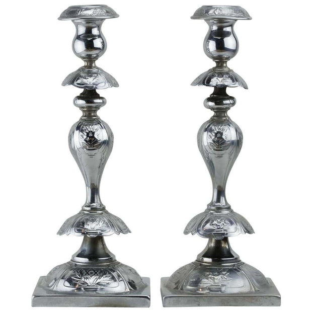 Early 20th Century Polish Silver Plated Shabbat Candelsticks