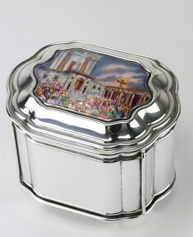 20th Century Israeli Silver Enamel Etrog Box, Ezra Landau, Jerusalem, Circa 1990 - Menorah Galleries