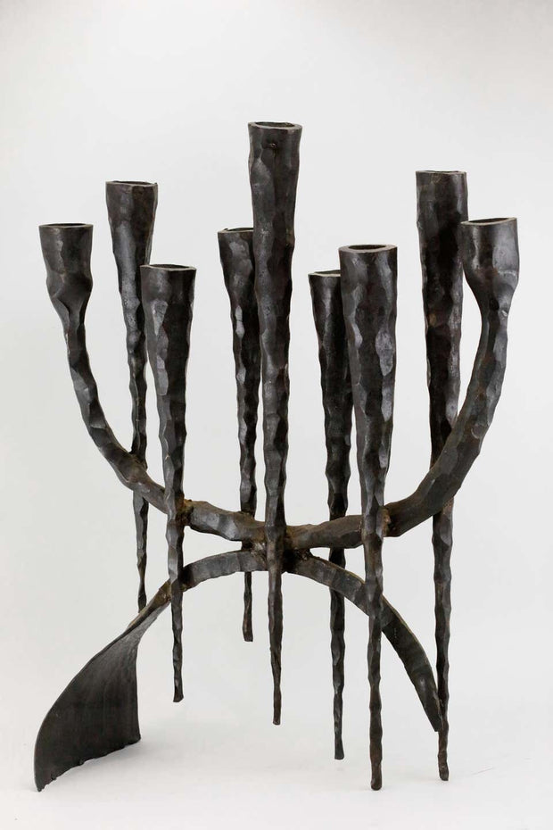 Mid-20th Century Brutalist Iron Hanukkah Lamp Menorah by David Palombo