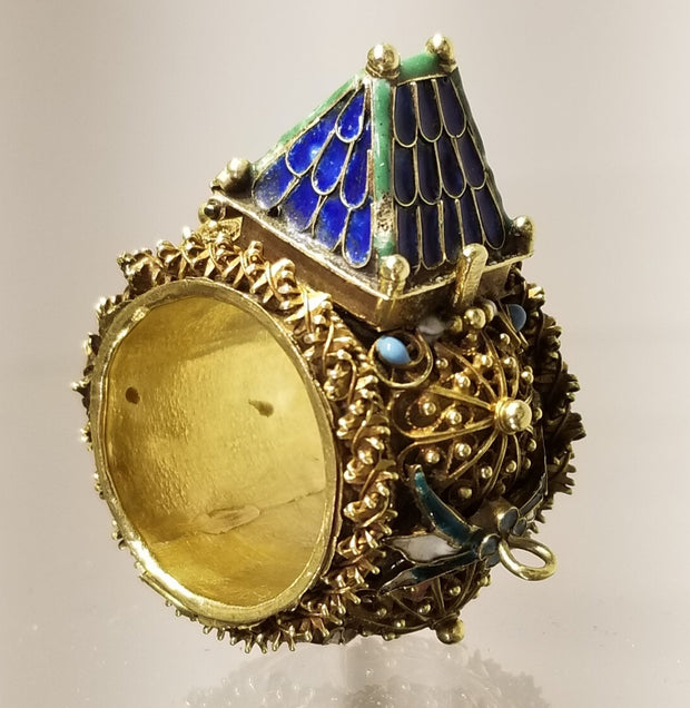 Italian Gold & Enamel Wedding Ring, Circa 1700 - Menorah Galleries