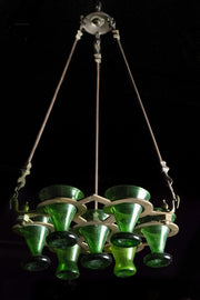 Early 20th Century Indian Brass Shabbat Hanging Lamp - Menorah Galleries