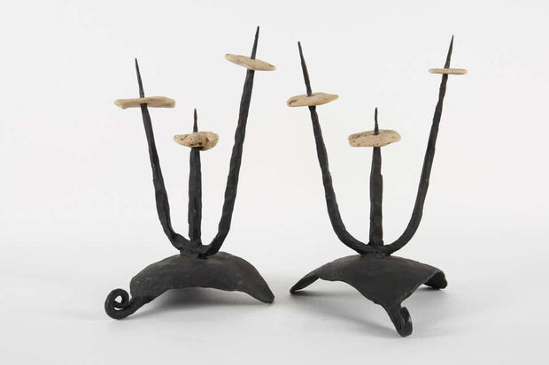 Mid-20th Century Pair of Brutalist Candleholders/Sculptures by David Palombo - Menorah Galleries