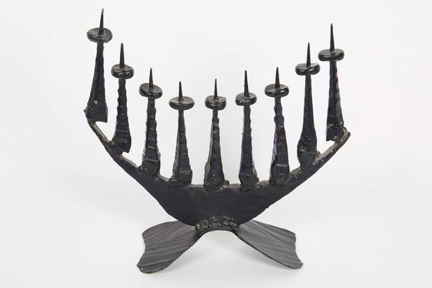 Mid-20th Century Brutalist Iron Hanukkah Lamp Menorah by David Palombo - Menorah Galleries