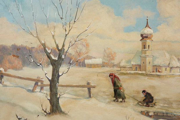 Chassidim in the Winter Landscape, Oil Painting by Kraus Walter - Menorah Galleries