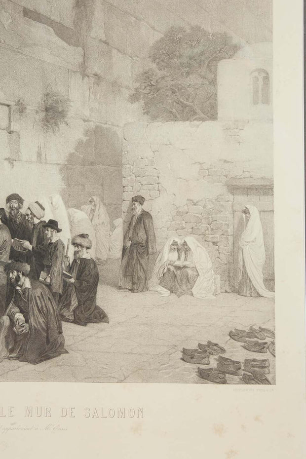 Les Juifs Devant le mur de Salomon, Jews at the Western Wall, Engraving, c. 1880 - Menorah Galleries