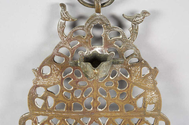 Early 20th Century Moroccan Brass Hanukkah Lamp Menorah - Menorah Galleries