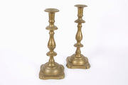Early 19th Century Polish Brass Shabbat Candlesticks - Menorah Galleries