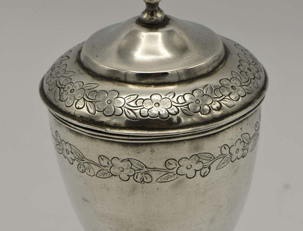19th Century Chinese Silver Kiddush Goblet with a Saucer - Menorah Galleries