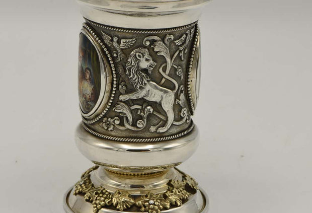 Israeli Sterling Silver and Enamel Kiddush Goblet by Y. Chaskelson