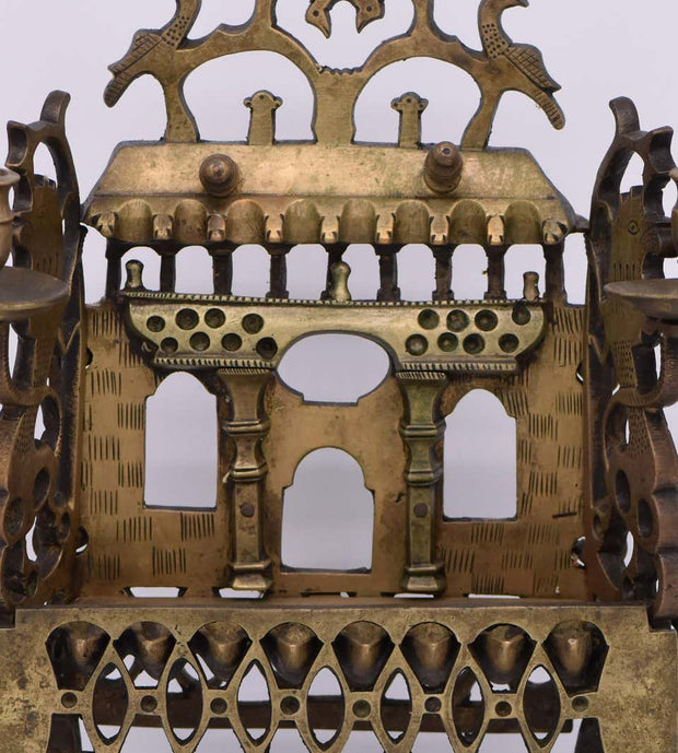 18th Century Polish Brass Hanukkah Lamp Modeled after Synagogue Facade