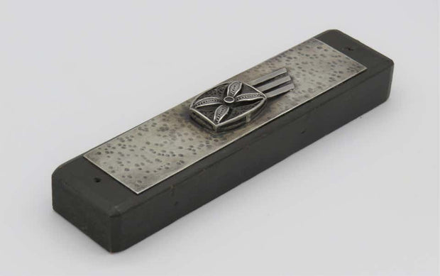 Mid-20th Century Israeli Silver and Wood Mezuzah Case