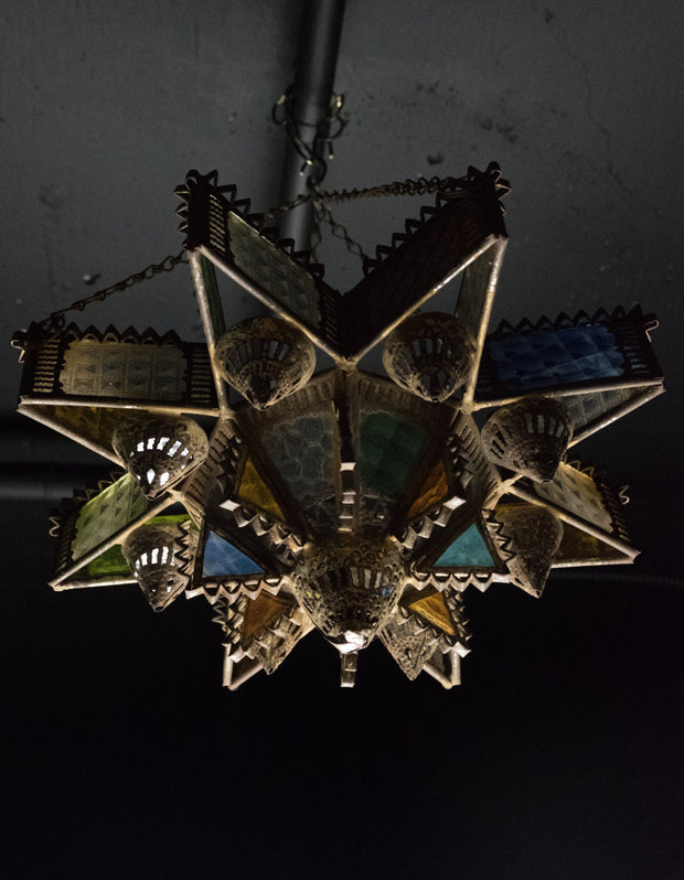 Early 20th Century Moroccan Tin and Glass Synagogue Hanging Lamp - Menorah Galleries