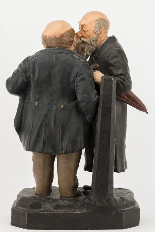 Early 20th Century Bohemian Terracotta Figure Group of Two Jews - Menorah Galleries